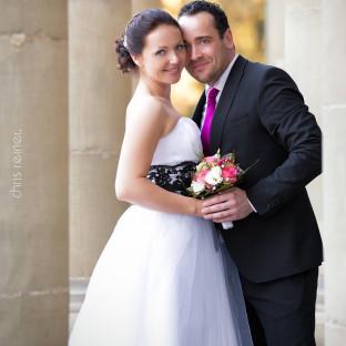 Hochzeitsfoto in Säulen