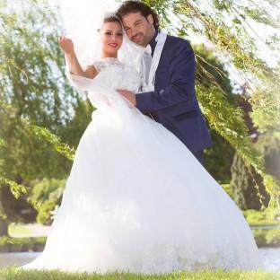 Tolles Hochzeitsfoto im Garten