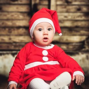 Weihnachtsbaby, Babyfoto zu Weihnachten