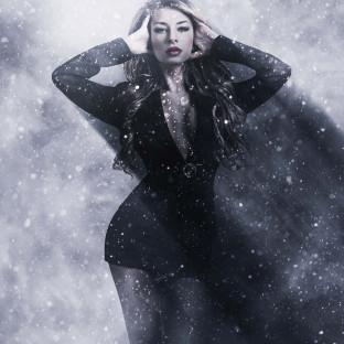 Schneegestöber, Foto im Schneesturm